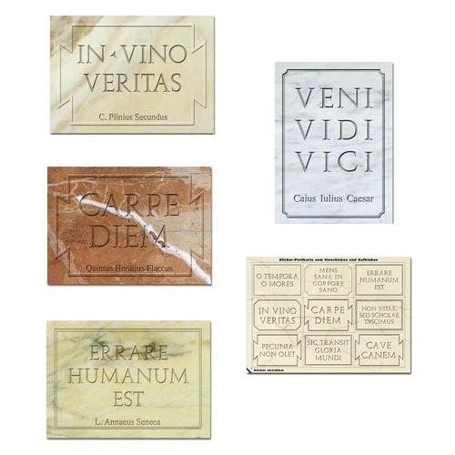 Aufkleber Postkarten Set Lateinische Zitate